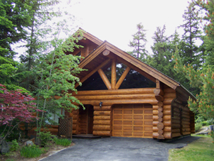 image of log home after